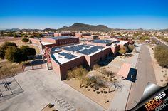 School with solar panels in Phoenix, Arizona