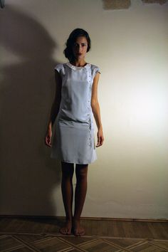 Pale Blue Dress 1920's style with asimmetric white by ElenaMassari, $148.00