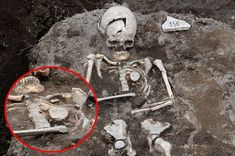 'Vampire' skeleton with stake driven through heart (to prevent him from rising from the dead) discovered in ruins of ancient city. It is believed the man succumbed to an 'anti-vampire ritual The skeleton of the man, thought to be between 40 and 50, had a piece of iron rod used in a plough known as a ploughshare hammered through its chest.The left leg below the knee had also been removed and left beside the body.