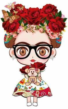 Frida Kahlo Cartoon, Frida Art, Pop Art Wallpaper, Jolie Photo, Mexican Folk Art, Big Eyes, Disney, Design Art, Chibi