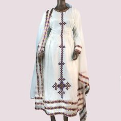 Ethiopian Dress. Traditional Habesha Kemis, Women's Clothes. Cotton, Embroidered, African. Ethiopian Traditional Dress, Traditional Dresses, Special Dresses, Dresses For Sale, Habesha Kemis, Women's Clothes, Clothes For Women, Ethiopian Dress, Khaki Skirt