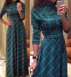 Vintage Turtle Neck Long Sleeve Lace-Up Plaid Dress