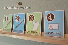 Free #Printable Morning Routine Flash Cards. Designs by Amy Locurto of LivingLocurto.com #kids