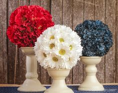 Add a little red, white, and blue to your decor with these gorgeous kissing balls. Perfect for adding fullness and a decorative touch to centerpieces, tables, and more.
