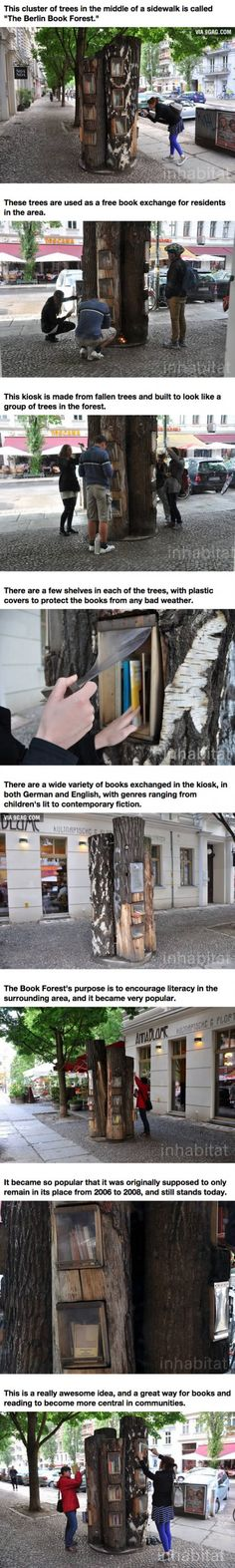 Would be nice to make shelf like this.... A Neighborhood In Germany Has An Awesome Book Exchange Inside Of Trees