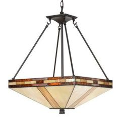 Dale Tiffany Mission 3-Light Antique Bronze Inverted Hanging Pendant Lamp-STH11007 at The Home Depot