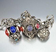 Silver Etruscan Charm Bracelet, Locket Bracelet, Carnelian Lapis Chunky Glass Charms, Vintage Art Deco Bracelet Jewelry, Statement Bracelet