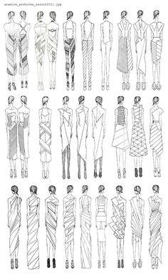 Fashion Drawing Fashion Sketchbook - geometric dress design sketches - developing a fashion collection; Dress Design Sketches, Fashion Design Drawings, Fashion Sketches, Drawing Fashion, Fashion Illustrations, Dress Design Drawing, Body Sketches, Design Illustrations, Dress Designs