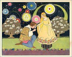 Príncipe e princesa, 1930 ilustração de um conto de fadas de Margaret Evans Price.