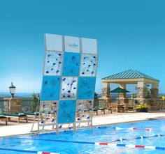 New AquaClimb mixed panel poolside climbing wall.  Featuring new 3-D Ice clear panels.  Your wall Your way.  see more at http://www.facebook.com/aquaclimb or www.aquaclimb.com
