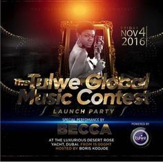 Becca to perform alongside Akon in Dubai   Afro pop singer Becca would on Friday November 4 perform live at the Global Launch of Tulwe Global Music Contest in Dubai. The launch to be hosted by Boris Kodjoe famous Hollywood actor will be held aboard the Desert Rose Yacht where specially invited persons are expected to be present with live streaming the world over. Becca is one of two African artistes including Davido who will be performing their chart-topping songs in Dubai together with…