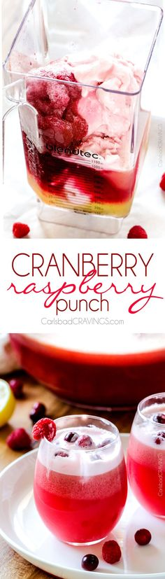 "EASY Family friendly, sweet and tangy Cranberry Raspberry Punch is the perfect addition to all your holidays and can be ready in minutes! AND over 25 ""pink"" recipe for breast cancer awareness.:"