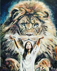 Lion of Judah and woman with sword, prophetic art painting.