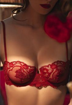 #red #lace #bra