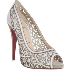 Christian Louboutin White Laser Cut Leather 'Pampas 120' Peep Toe... ($1,116) ❤ liked on Polyvore