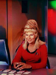 Grace Lee Whitney as Yeoman Janice Rand in the original Star Trek series. Star Trek Crew, Star Trek Tos, Star Trek Original Series, Star Trek Series, Star Trek Season 1, Start Trek, Star Trek Images, Star Trek Characters, Star Trek Starships