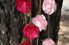 Handmade Hot Pink and Light Pink Flower Garland by poppylimedesign, $42.00