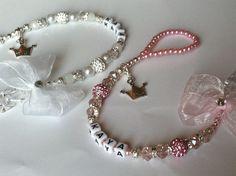 Bling *Princess* Shamballa & Crystal Romany Dummy Clip Personalised Pink White in Dolls & Bears | eBay