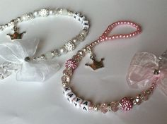 Bling *Princess* Shamballa & Crystal Romany Dummy Clip Personalised Pink White in Dolls & Bears | eBay