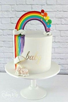 Baby shower cakes, Shower cakes and Rainbows on Pinterest