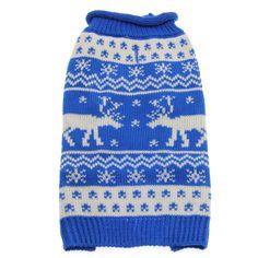 Worthy Dog Holiday Ski Dog Sweater - Reindeer Blue $40