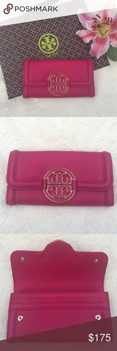 NWT Tory Burch Amanda Envelope Wallet Gorgeously soft leather wallet from Tory Burch.   Amanda Envelope Wallet in Carnation Red   Brand new with tags!    Make an offer!! ✅ Tory Burch Bags Wallets