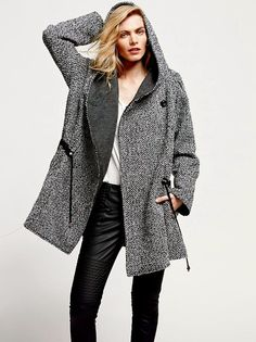 NWOT $168 Free People Coat Satellite Image Swing hooded tweed wine ...