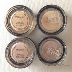 DUPE ALERT: Maybelline Color Tattoos in Just Beige and Nude Pink vs. MAC Pro Longwear Paint Pots in Soft Orche and Painterly