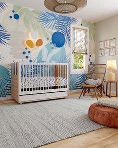 """Little Guy Comfort on Instagram: """"A botanical beauty! Think outside the box with the unique colors of the Evolve Crib! 🌿💙☀️ #littleguycomfort"""" Baby Boy Nursery Decor, Baby Boy Nurseries, Playroom Organization, Thinking Outside The Box, Nursery Inspiration, Kid Spaces, Unique Colors, Floor Pillows, Cribs"""