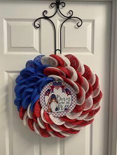 Flag Wreath, Patriotic Wreath, Patriotic Decorations, 4th Of July Wreath, Christmas Decorations, Holiday Decor, Military Wreath, Burlap Flower Wreaths, Memorial Day Wreaths