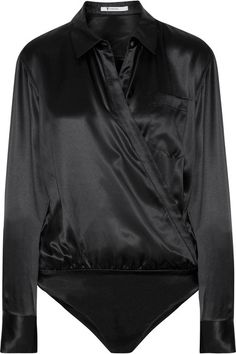 T by Alexander Wang - Wrap-effect Silk-charmeuse Bodysuit - Black - US10