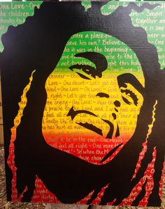 Bob Marley One Love Original Painting by KandiO on Etsy, Bob Marley Painting, Bob Marley Art, Reggae Art, Rasta Art, Fox Tattoo Design, Pop Art, Nesta Marley, Painting & Drawing, First Love