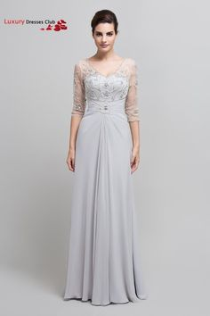 Aliexpress.com : Buy Long Silver Formal Mother of the Bride Dresses with Sleeves 2015 Women A Line Floor Length Prom Dresses Plus Size Custom Made from Reliable bride robe suppliers on Luxury Dresses Club    Alibaba Group