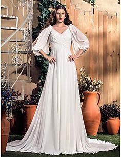 Lanting Bride A-line Plus Sizes / Petite Wedding Dress-Court Train V-neck…