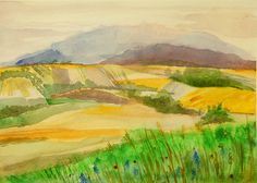 Original watercolour painting Summer fields