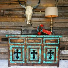 Tres Cruses Rustic Buffet Tres Cruses Buffet-Turquoise More from my siteLoquita Rustic Hutch Loquita Rustic Hutch Loquita Hutch Western Furniture, Primitive Furniture, Unique Furniture, Rustic Furniture, Living Room Furniture, Furniture Design, Furniture Projects, Luxury Furniture, Furniture Movers