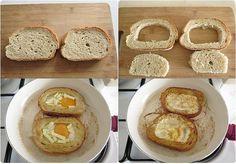 kahvaltılar için yumurtalı ekmek