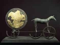 The Sun Chariot. The Sun Chariot was found in September 1902, during the first ploughing of Trundholm Mose in western Zealand. Gold, Prehistoric Period, horse, find, Bronze age, gold.