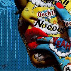 From Reload Gallery, Monika Nowak, Likable Mixed Media on Plexiglass, 100 × 100 cm Pop Art Studio, Comic Kunst, Comic Art, Graffiti Art, Cuadros Pop Art, Ben Day Dots, Kunst Portfolio, Tableau Design, Acid Art