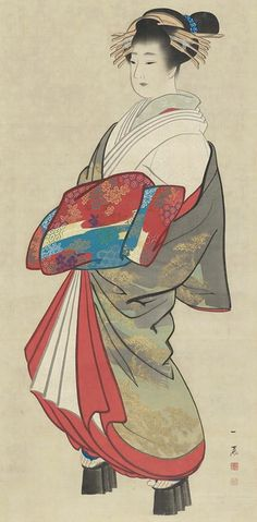 Oiran.  Main detail of a hanging scroll; ink and color on silk, mid-19th century, Japan, by artist Mori Ippo. MFA