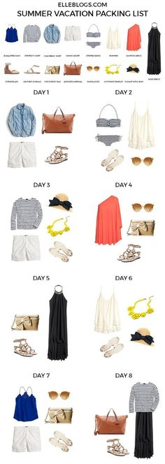 Ideas For Holiday Packing Summer Capsule Wardrobe Summer Vacation Packing, Packing List For Travel, Packing Lists, Mexico Vacation, Cruise Packing, Summer Vacations, Vegas Packing, Travel Guide, Travel Clothes Summer