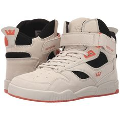 Supra Bleeker (Off-White/Black/Coral/Off-White) Men's Skate Shoes ($100) ❤ liked on Polyvore featuring men's fashion, men's shoes, men's sneakers, beige, mens velcro strap sneakers, mens velcro sneakers, mens velcro high top sneakers, black white mens dress shoes and mens high tops
