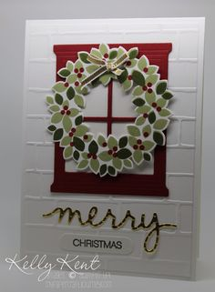 handmade card ... Wondrous Wreath hanging on die cut window frame on embossed brick background ... Stampin' Up!