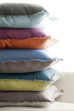 linen frayed edge pillow