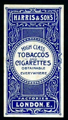 Layout and letters. Typographic poster design for Harris & Sons UK tobaccos & cigarettes, circa 1900 Vintage Packaging, Vintage Labels, Vintage Ads, Vintage Posters, Vintage Branding, Logo Vintage, Vintage Graphic Design, Graphic Design Typography, Vintage Designs