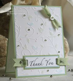 The winter white look with sparkle and lush ribbon, thank you cards :) Pretty Cards, Cute Cards, Embossed Cards, Embossed Paper, Sympathy Cards, Paper Cards, Creative Cards, Greeting Cards Handmade, Scrapbook Cards