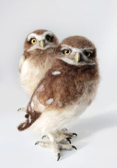 READY TO SHIP!  Here are two burrowing owlets. One is Grumpy and one is curious. As a pair these two are adorable! But they certainly also look great on their own : ) This two are needle felted over a wire armature. Taxidermy glass eyes. The talons and beaks are sculpted with polymer clay and the beaks are also hand painted.  Note the price is for ONE of the owls. They are both 7 inches tall.  Enjoy : )