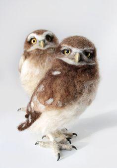 SOFORT LIEFERBAR, wühlen Owllets, Eulen, Kanincheneule, Eule Skulptur Nadel gefilzte Eule