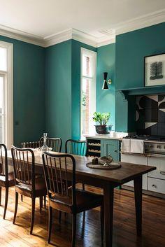 turquoise kitchen by deVOL Kitchens