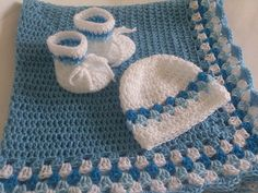 Crochet Baby Blanket / Afghan Hat and Booties Blue White